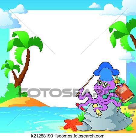 450x458 Clipart Of Beach Frame With Octopus Teacher K21288190