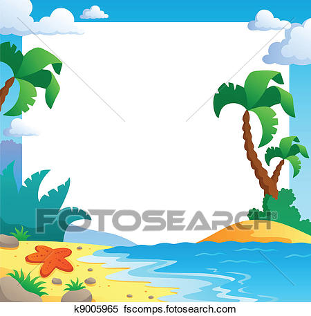 450x457 Clipart Of Beach Theme Frame 1 K9005965