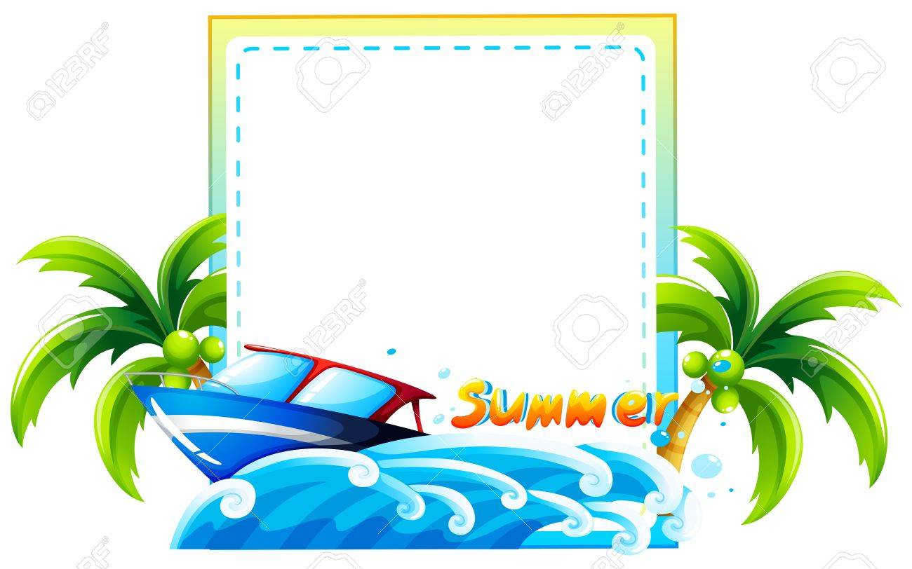 1300x812 Frame Of Summer Theme With Beach And Boat Royalty Free Cliparts