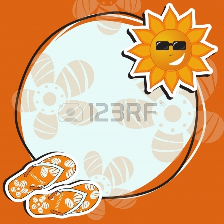 450x450 Pretty Funny Summer (Beach) Frame, Vector Royalty Free Cliparts