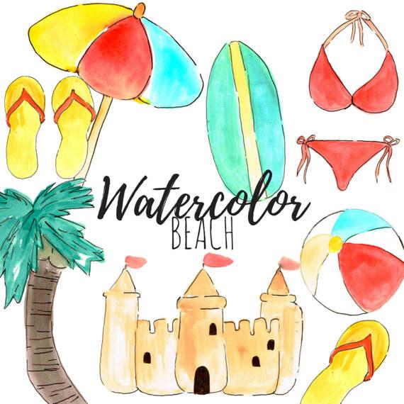 570x570 Beach Clip Art Watercolor Clip Art Party Ocean
