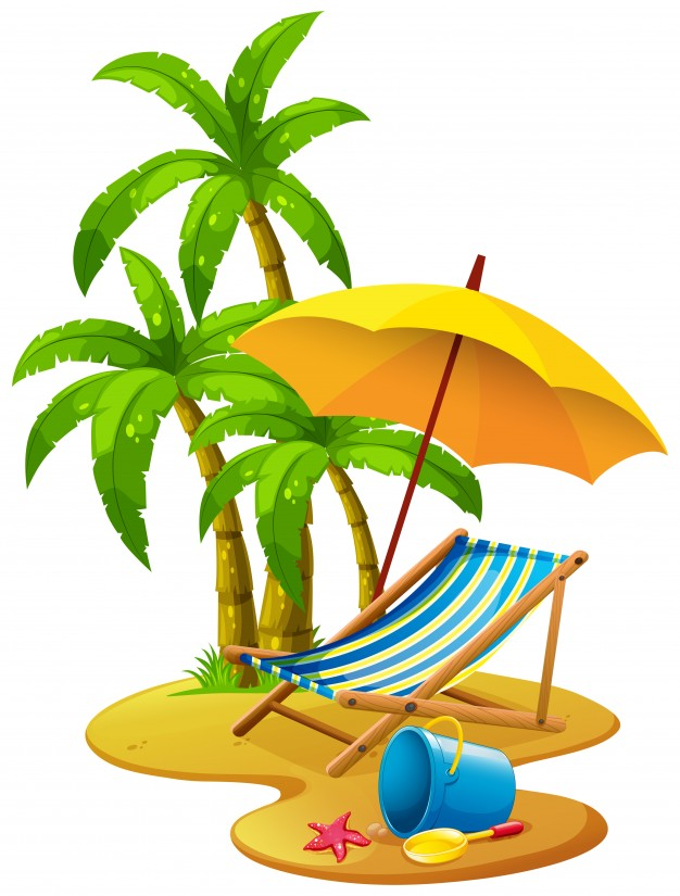 626x825 Beach Scene With Chair And Umbrella Vector Free Download