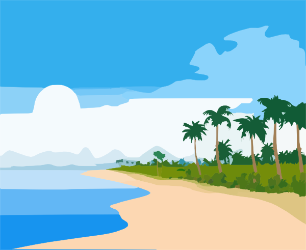 600x491 Lake Clipart Beach Scene