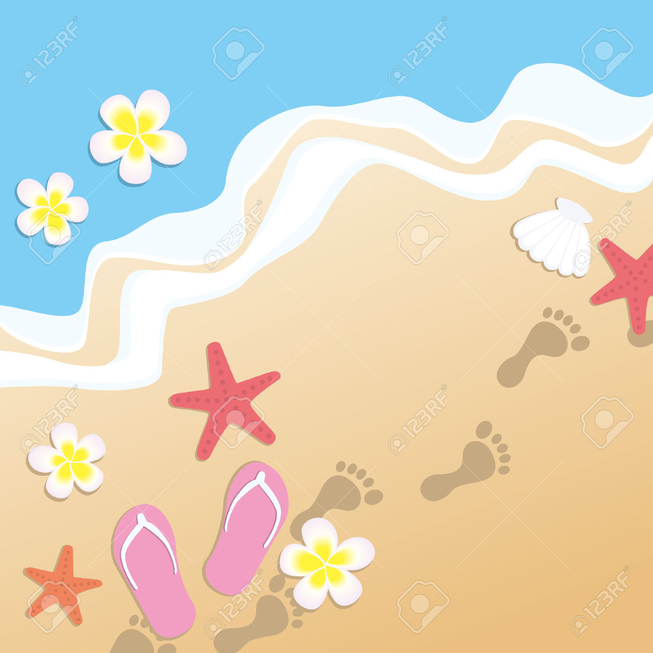 1300x1300 Sandy Beach Clipart Beach Scene