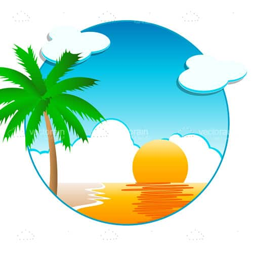 500x500 Sunny Beach Scene In Sphere Graphic
