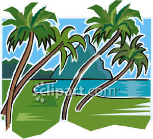 300x273 Beach Scene With Palm Trees And Mountains Royalty Free Clipart Picture
