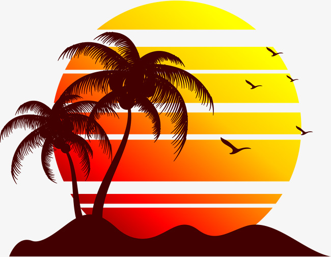 650x505 Beach Sunset, Vector Material, Sunset, Dusk Png And Vector