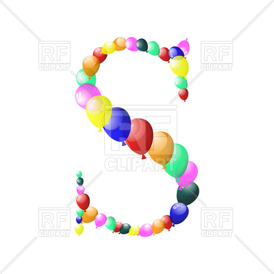 400x400 Letter S Made Of Colorful Balloons Royalty Free Vector Clip Art