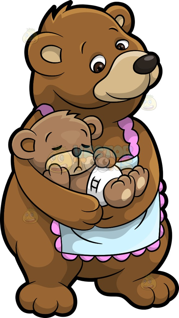 578x1024 A Mama Bear And Her Sleeping Cub Cartoon Clipart