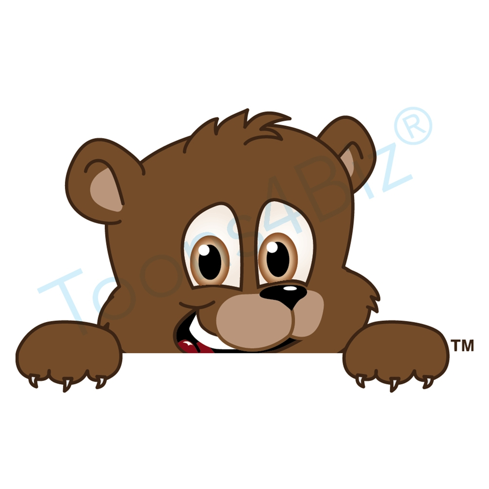 1000x1000 Bear Mascot Peeking Over Clip Art