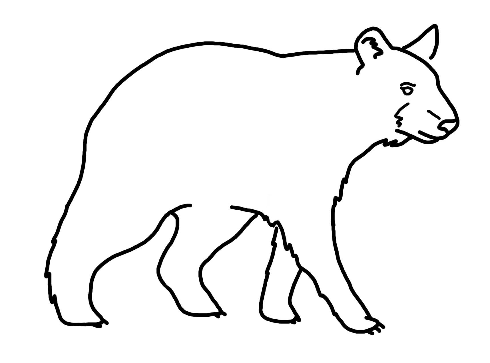 1716x1271 Black Bear Clipart Line Drawing