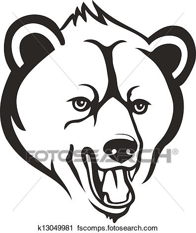 396x470 Clipart Of Bear Head K13049981