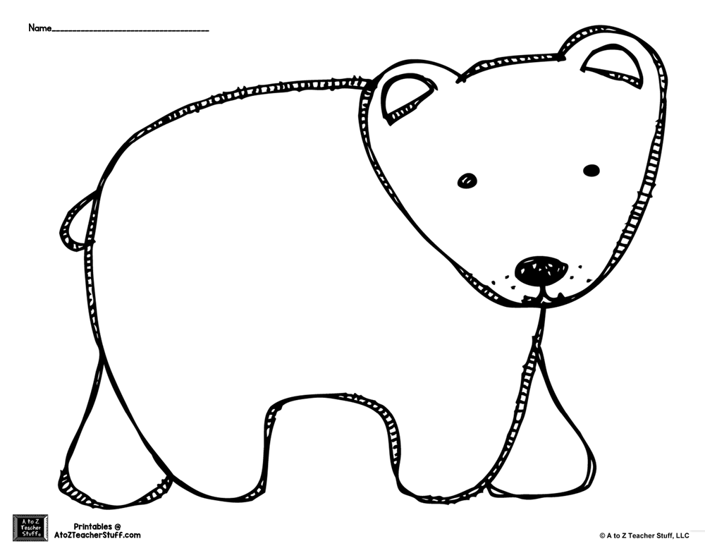 1000x774 Brown Bear Or Polar Bear Outline Coloring Page A To Z Teacher