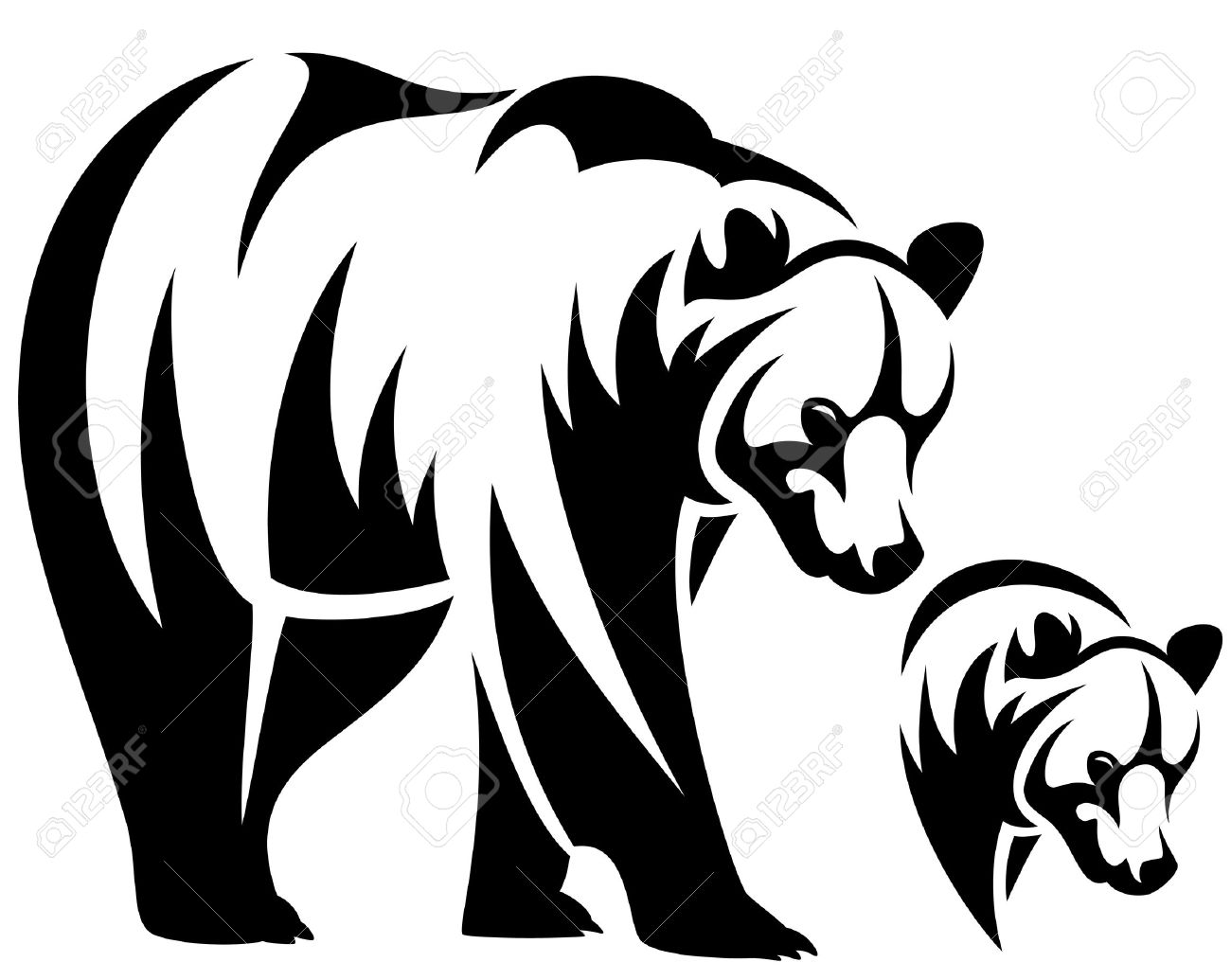 1300x1035 Walking Bear And Animal Head Black And White Outline Emblem