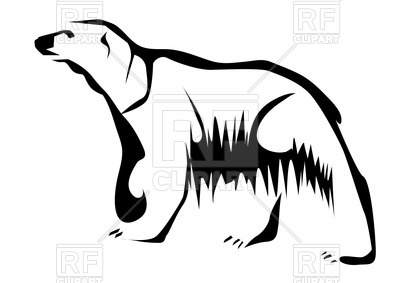400x283 Outline Of Polar Bear Royalty Free Vector Clip Art Image