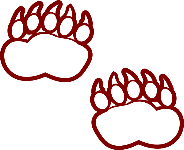 600x488 red outline bear paw clipart - Outline Of A Bear