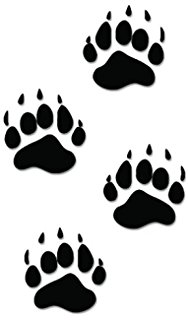 188x320 Black Bear Paw Prints 6 Cartrucklaptopwall Vinyl