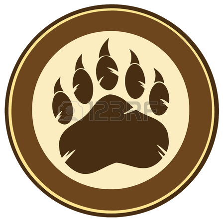 450x447 Bear Paw Print Circle Logo Design Stock Photo, Picture And Royalty