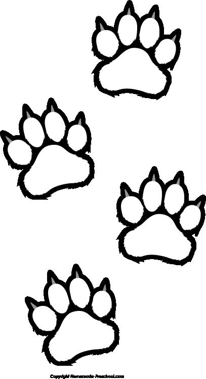 407x746 Bear Paw Prints Clip Art Clipartfest 3