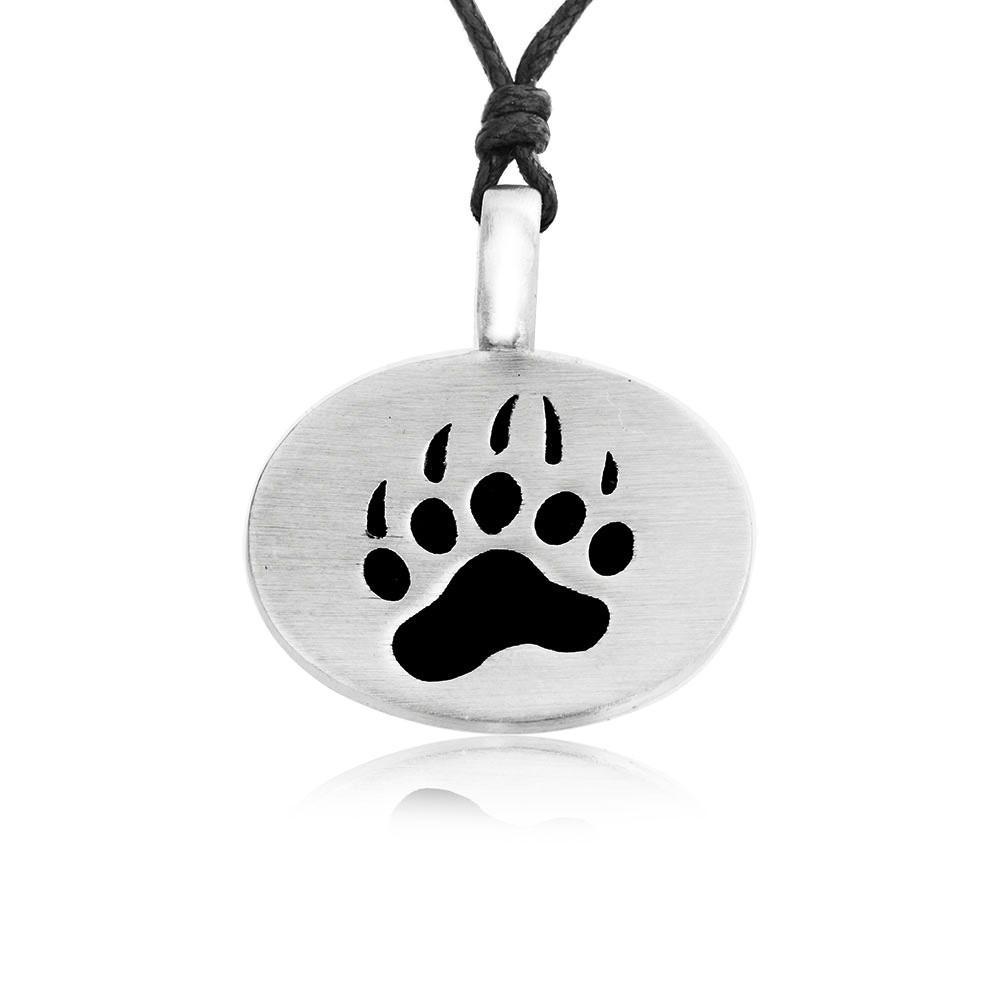 1000x1000 Bear Claw Pendant With Paw Print Imprint, Fine Pewter Dan's Jewelers
