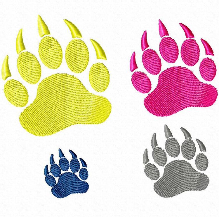 750x746 Small Bear Paw Print Machine Embroidery Design Clipart