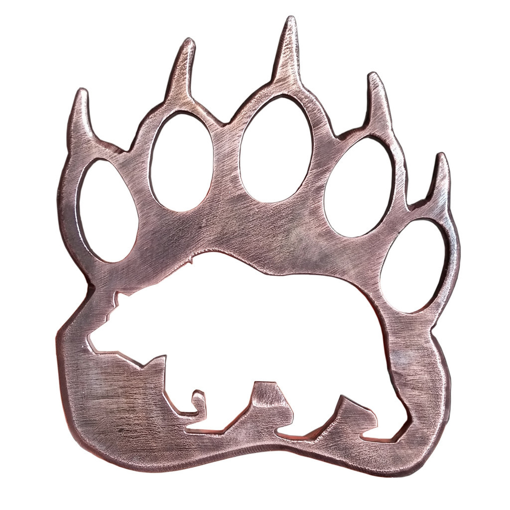 1024x1024 Wooden Grizzly Bear Paw Print Pendant