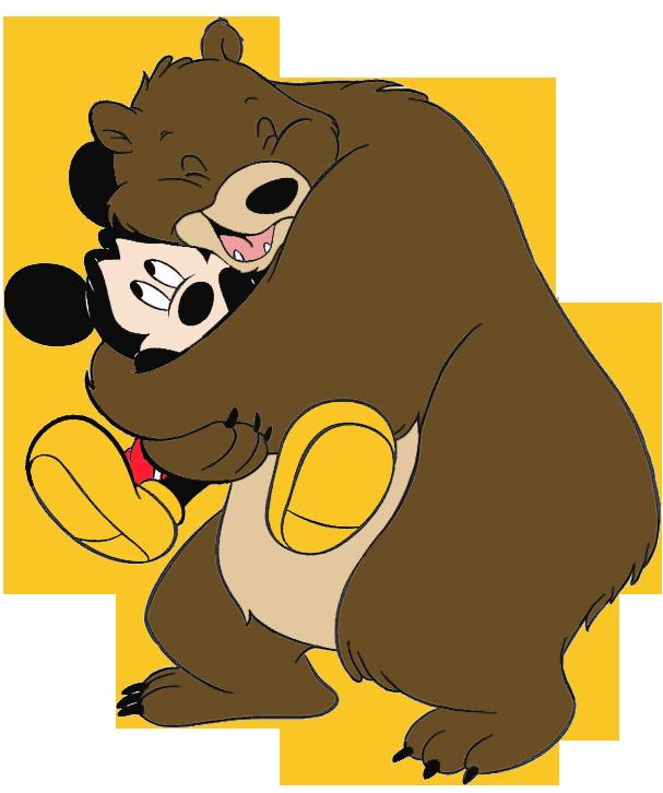 607x726 Bear And Micky Mouse Hug Clipart