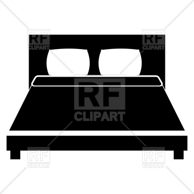 400x400 Bed Black Color Icon On White Background Royalty Free Vector Clip