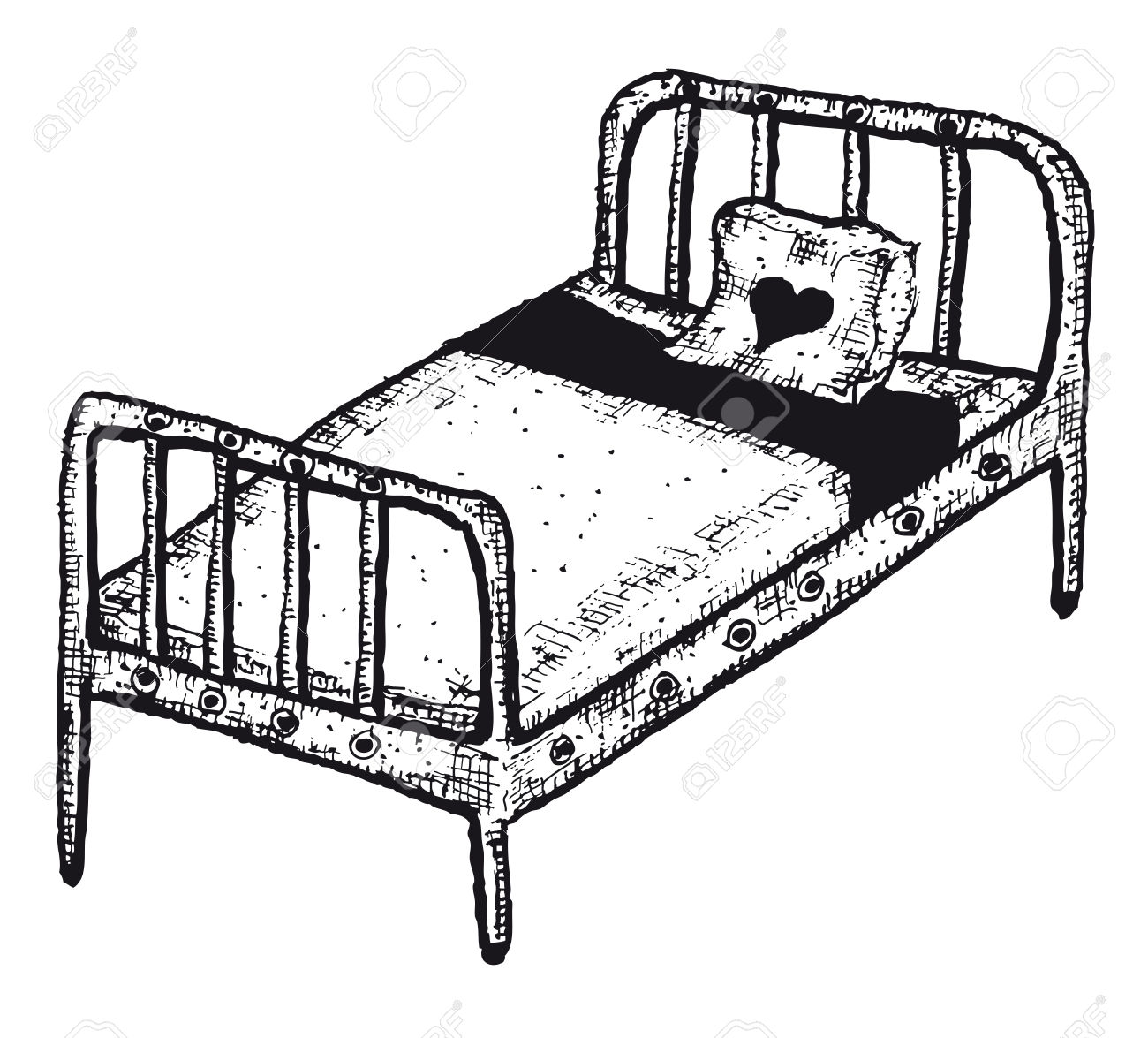 1300x1175 Drawn Bed Black And White