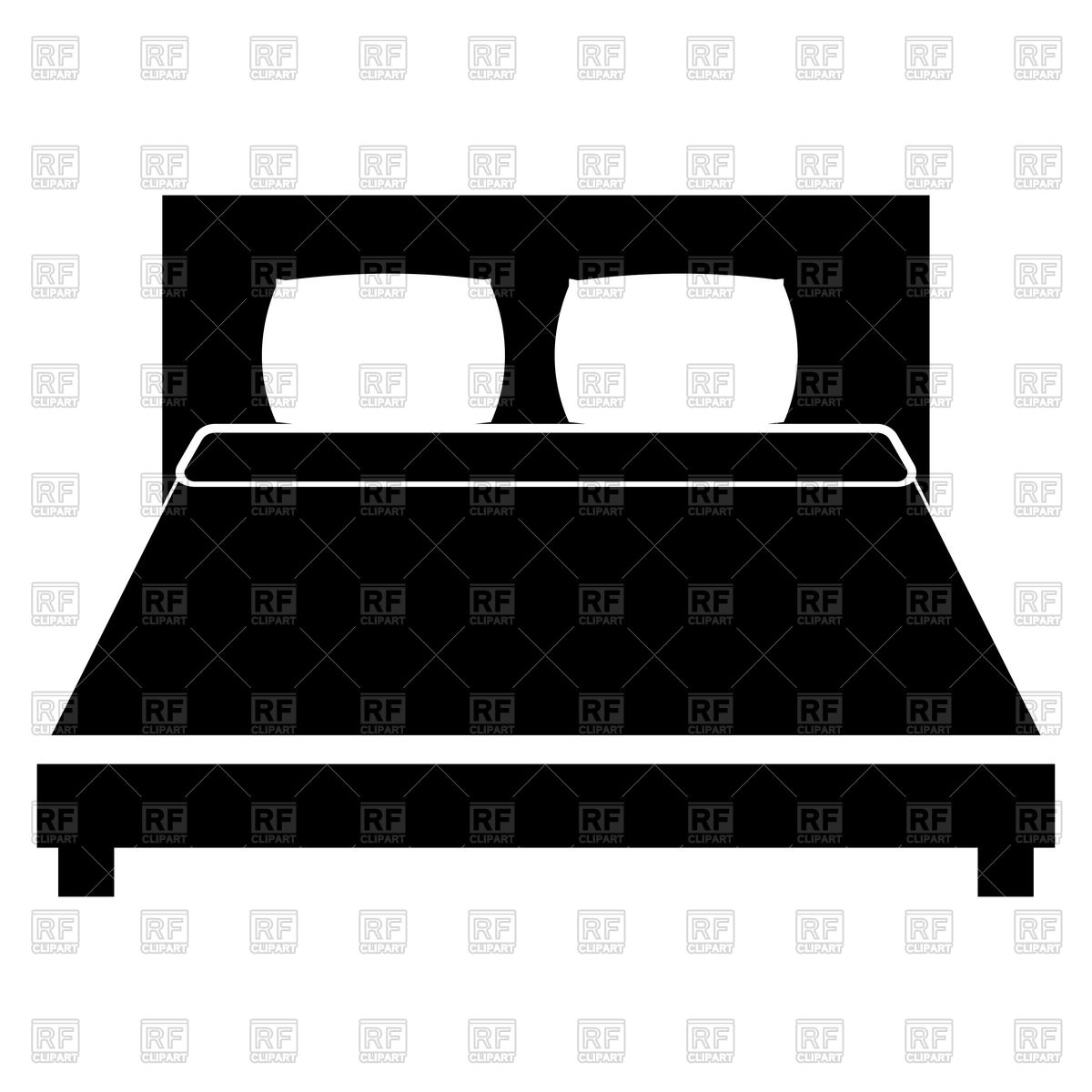 1200x1200 Bed Black Color Icon On White Background Royalty Free Vector Clip