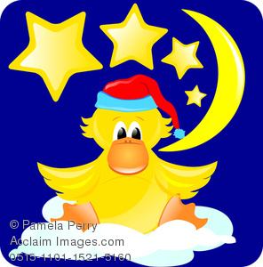 296x300 Clip Art Image Of A Baby Duck Wearing A Nightcap With The Moon