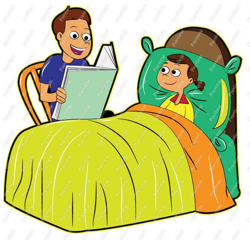 800x768 Father Reading To Daughter Bedtime Story Clip Art