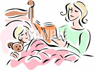 300x225 Image Mother Reading Bedtime Story To Child In Bed
