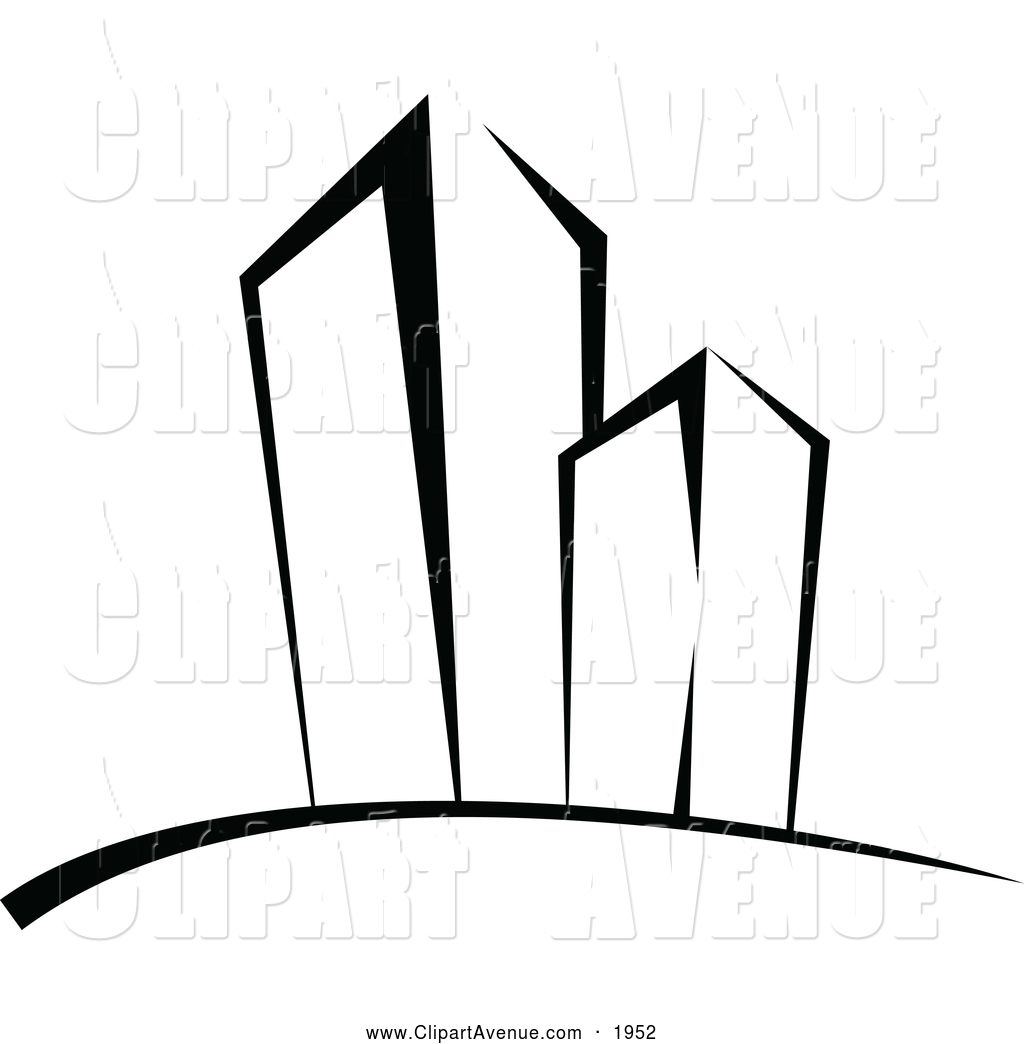 1024x1044 Avenue Clipart Of Black And White Skyscrapers By Vector Tradition
