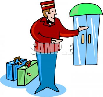 350x328 Bellhop Taking Luggage To A Room
