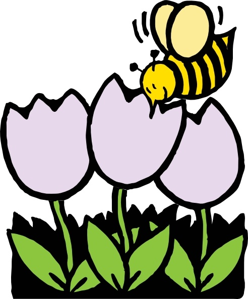 492x594 Bee And Flowers clip art Free vector in Open office drawing svg