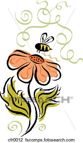 273x470 Clip Art of bee and flower cfr0012