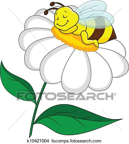 421x470 Clipart of Bee sleeping on flower k10421004