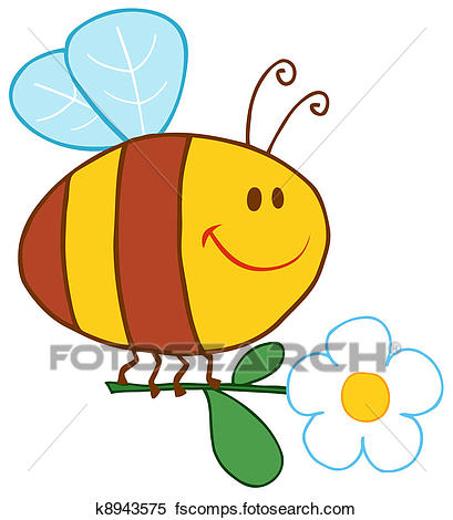 409x470 Clipart of Happy Bee Flying With Flower k8943575
