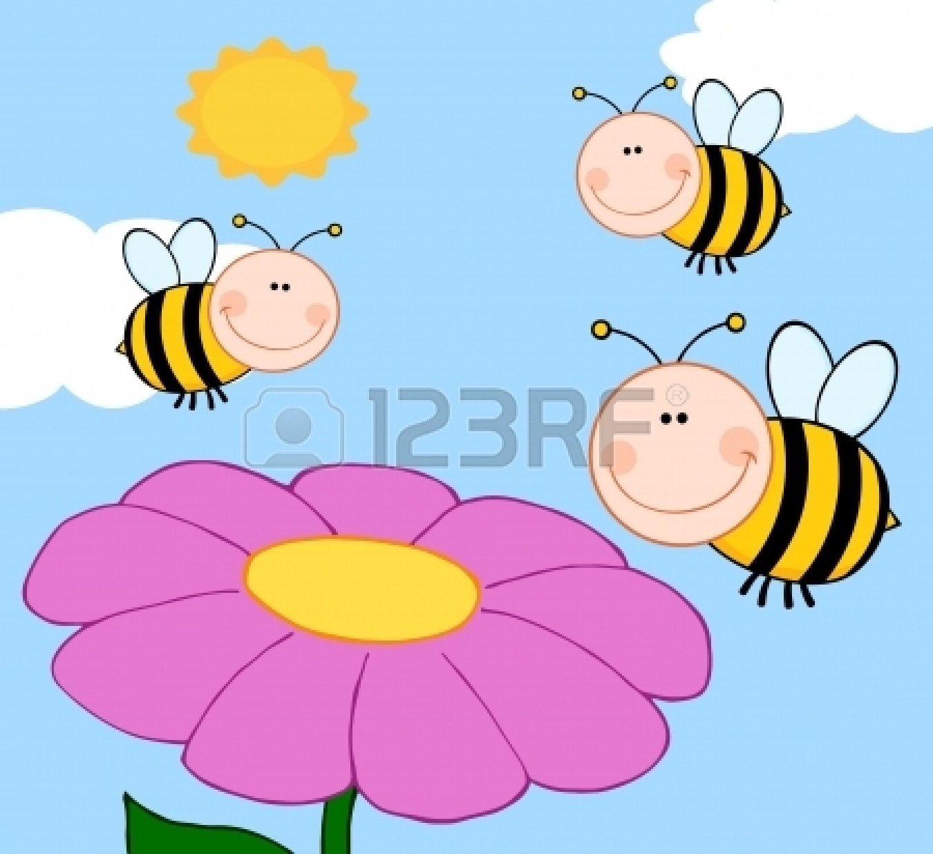 1350x1236 Fly on flower clipart