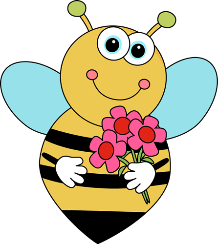 446x500 Free Bee and Flower Clipart Image