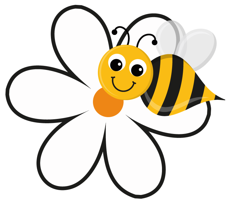 753x672 Free Bee and Flower Clipart Image