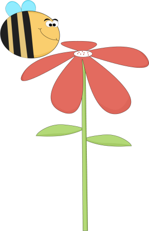 290x450 Funny Bee Smelling a Flower Clip Art