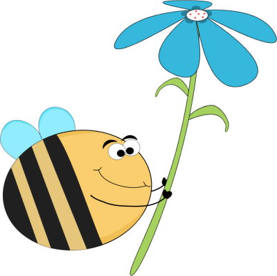400x398 Funny Bee with a Blue Flower Clip Art