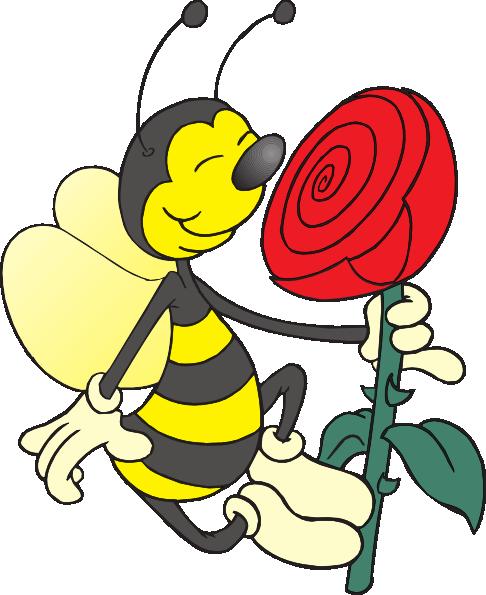 486x595 Bee Smelling Flower Clip Art