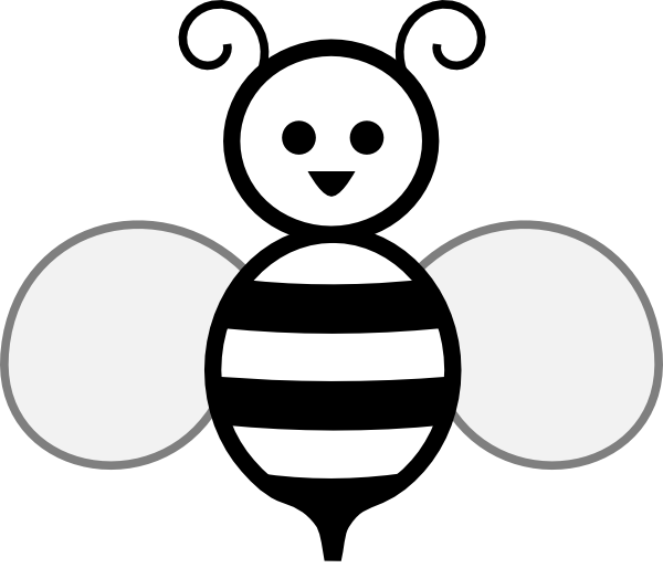 600x514 Black And White Bee Clip Art