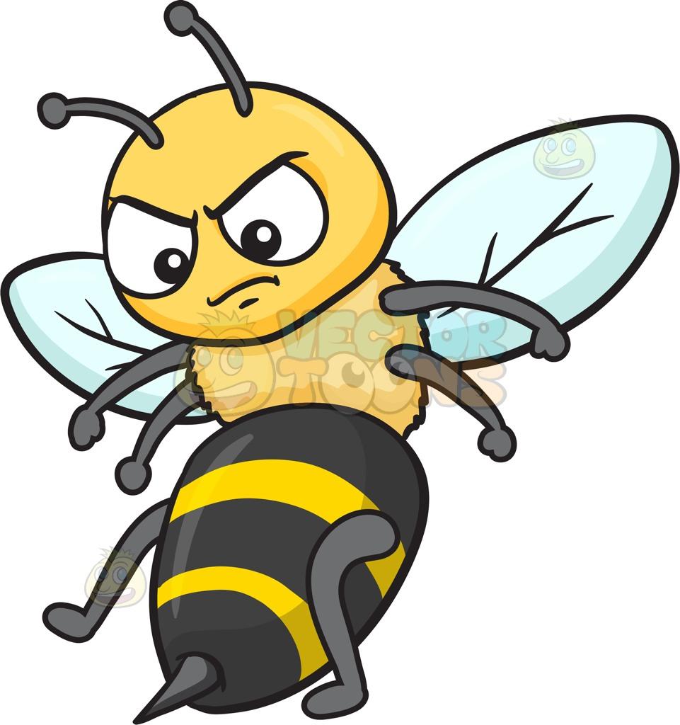 961x1024 An Angry Bee Cartoon Clipart