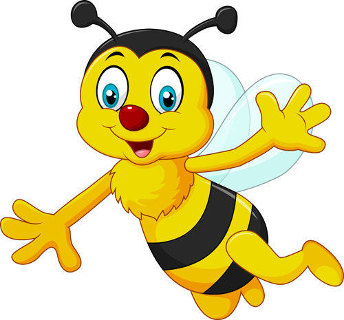 500x465 Cute Bee Cartoon Vector Illustration 02