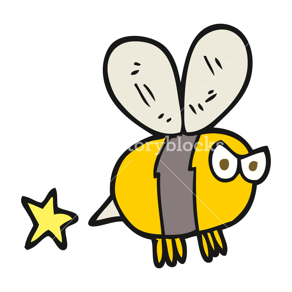 1000x1000 Freehand Drawn Cartoon Angry Bee Royalty Free Stock Image