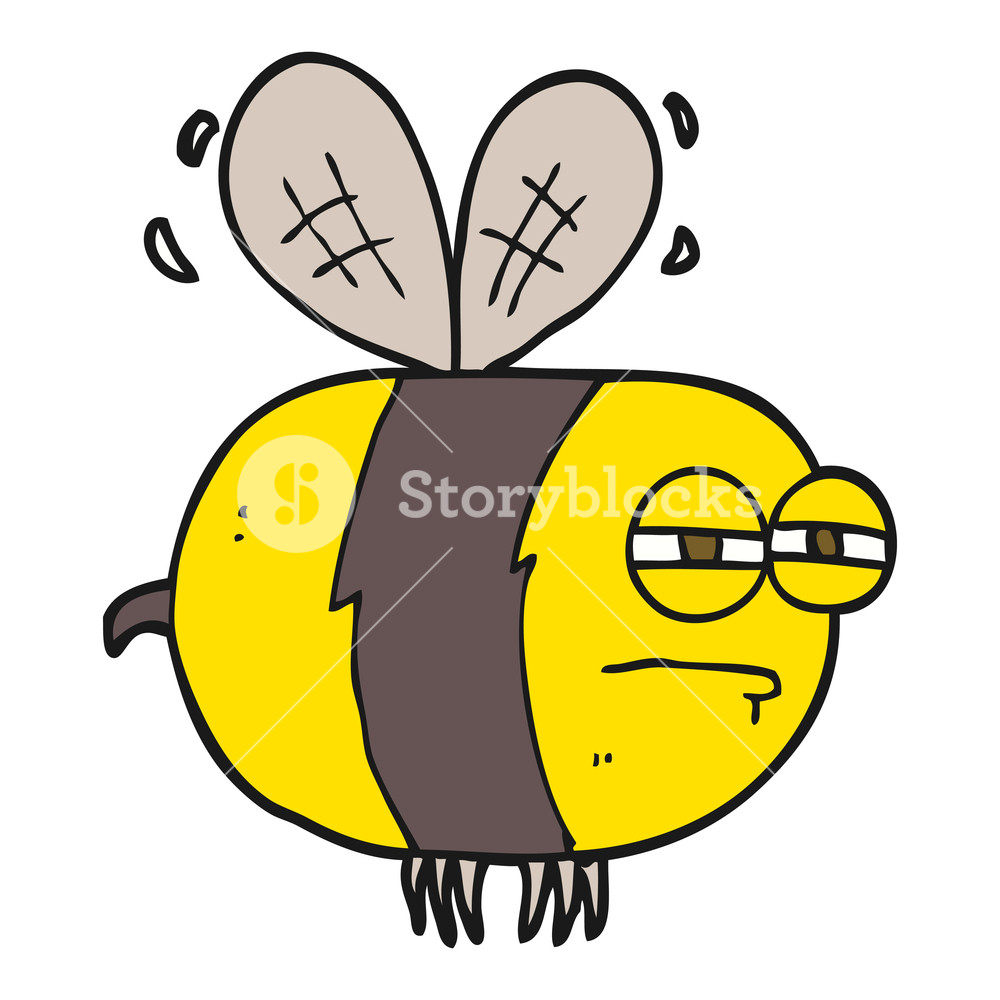1000x1000 freehand drawn cartoon unhappy bee Royalty Free Stock Image